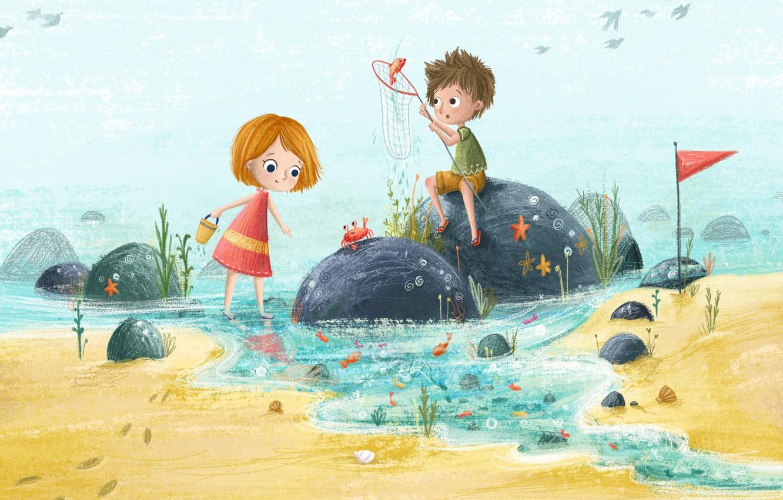 Photo wallpaper sea, summer, children, stay, figure, illustration, children's, Lucy Fleming