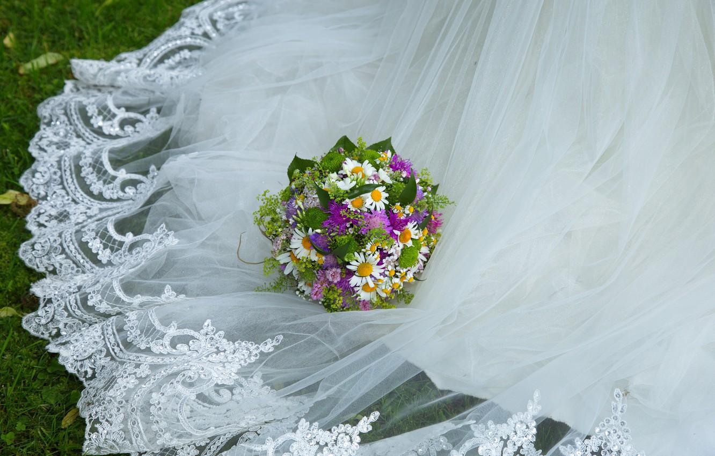 Photo wallpaper bouquet, dress, weed