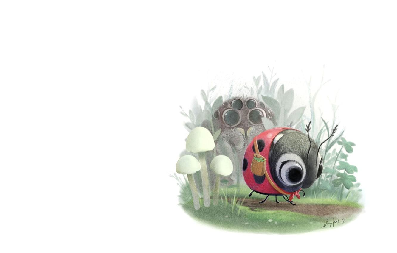 Photo wallpaper summer, ladybug, eyes, art, clearing, children's, spider, Sydney Hanson