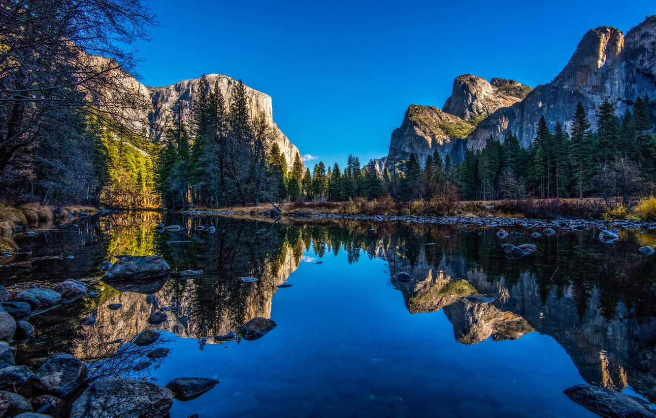Photo wallpaper The sky, Water, Nature, Reflection, Mountains, Trees, Stones, Branches, River