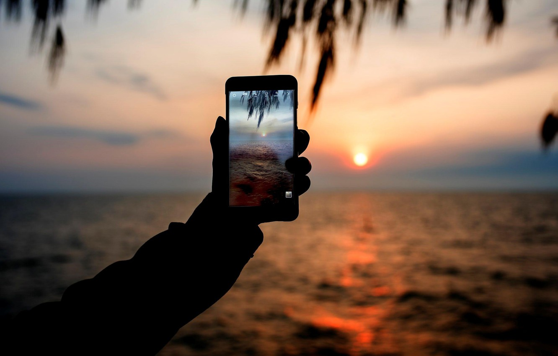 Photo wallpaper sea, sunset, photo, phone
