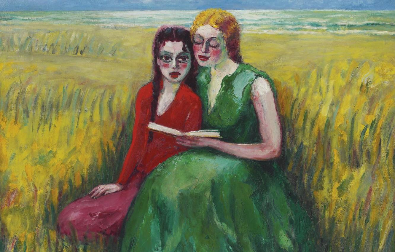 Photo wallpaper girls, oil, book, canvas, Kees van Dongen, Fauvism, In the dunes, 1927-1930