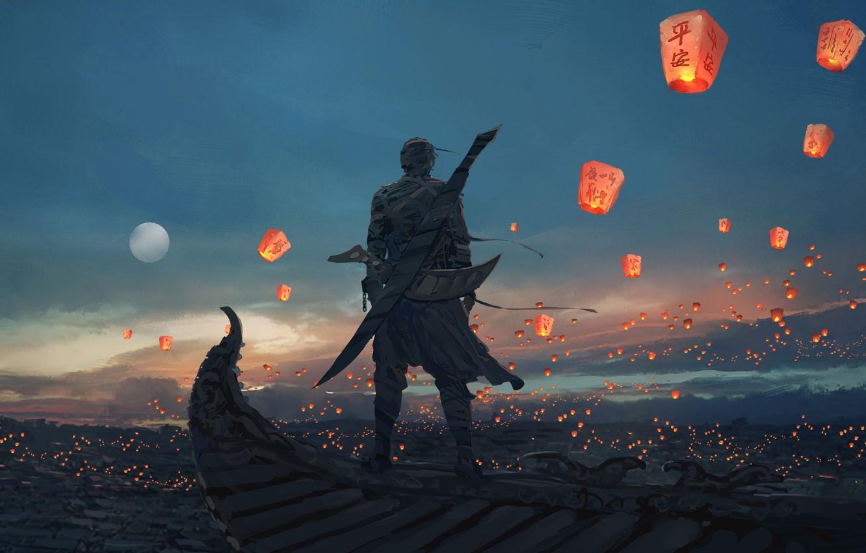 Photo wallpaper The sky, Figure, The moon, Sword, Moon, Sky, Art, Male, Art, Man, Sword, Artist, Chinese …