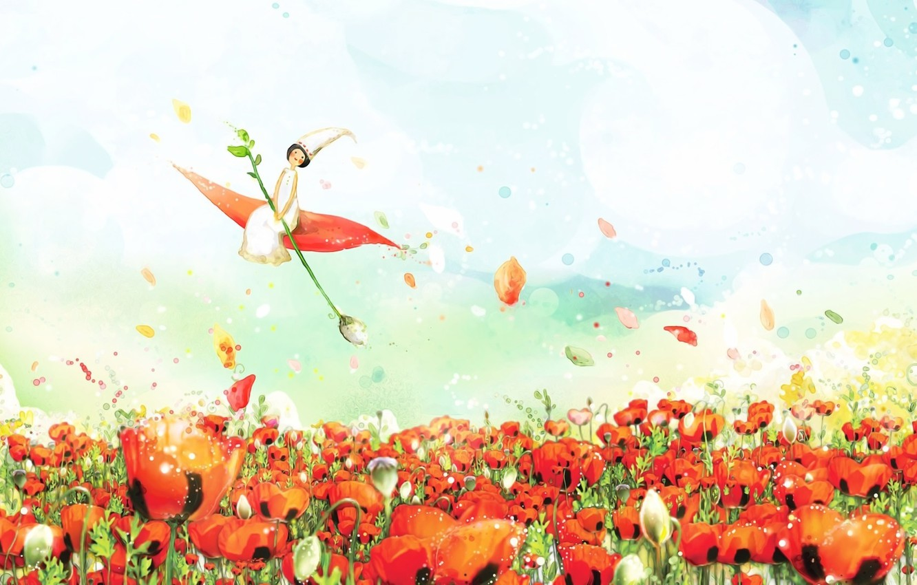 Photo wallpaper the sky, clouds, fantasy, figure, spring, petals, fairy, watercolor, poppy field, Thumbelina, fabulous picture, flight …