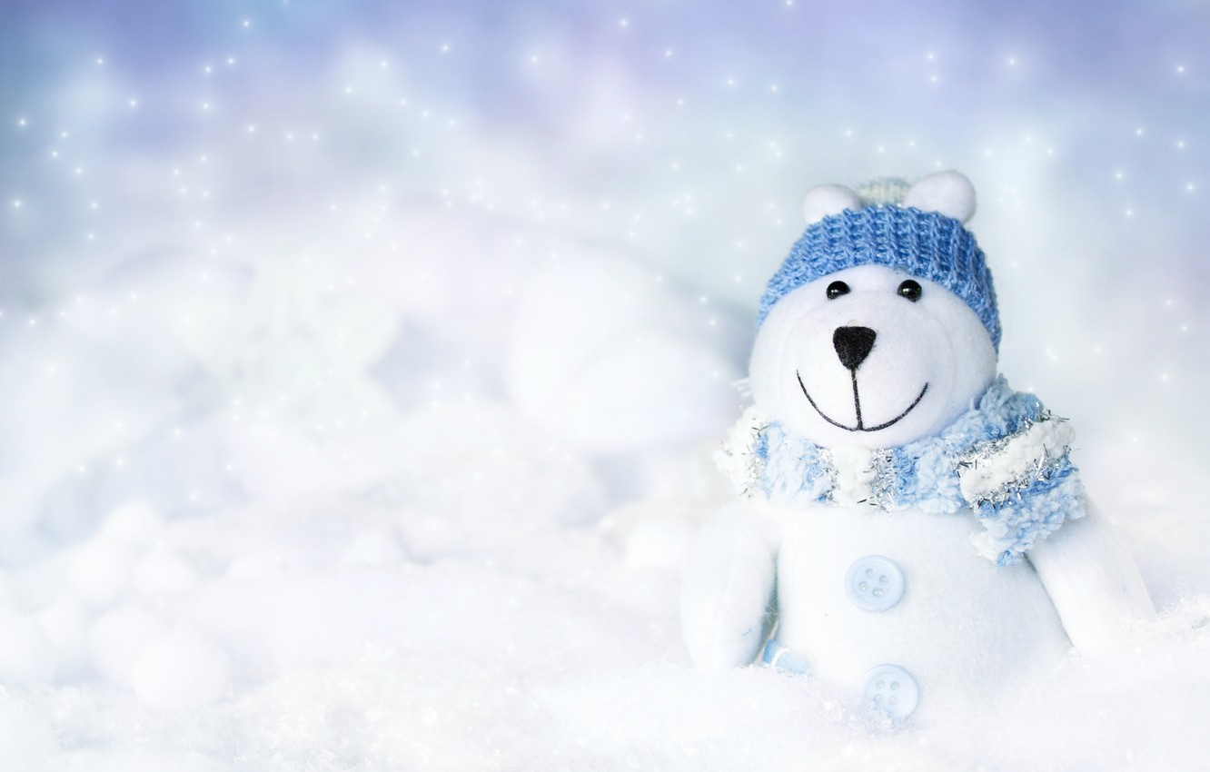 Photo wallpaper winter, toy, buttons, scarf, cap