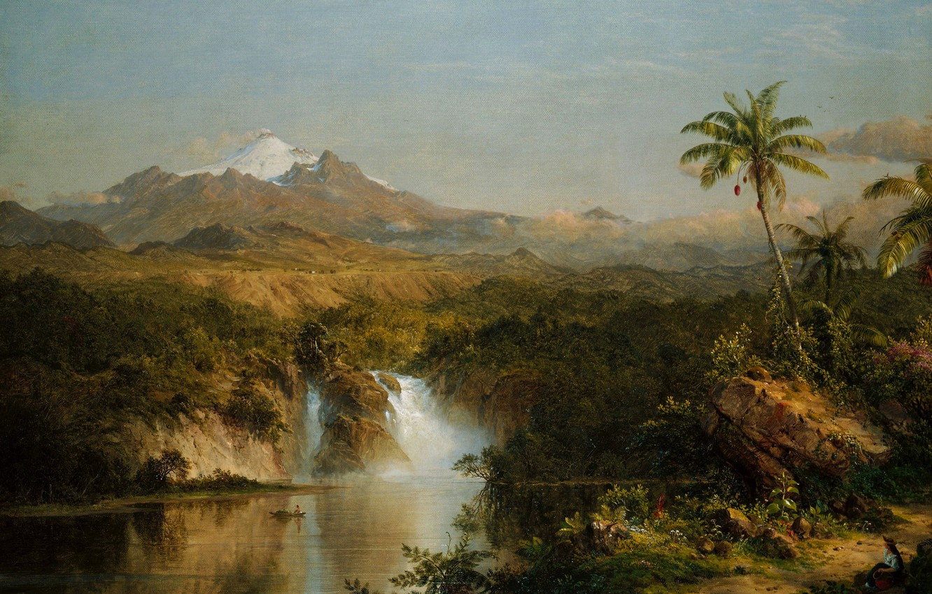 Photo wallpaper landscape, mountain, picture, the volcano, Frederic Edwin Church, A View Of Cotopaxi