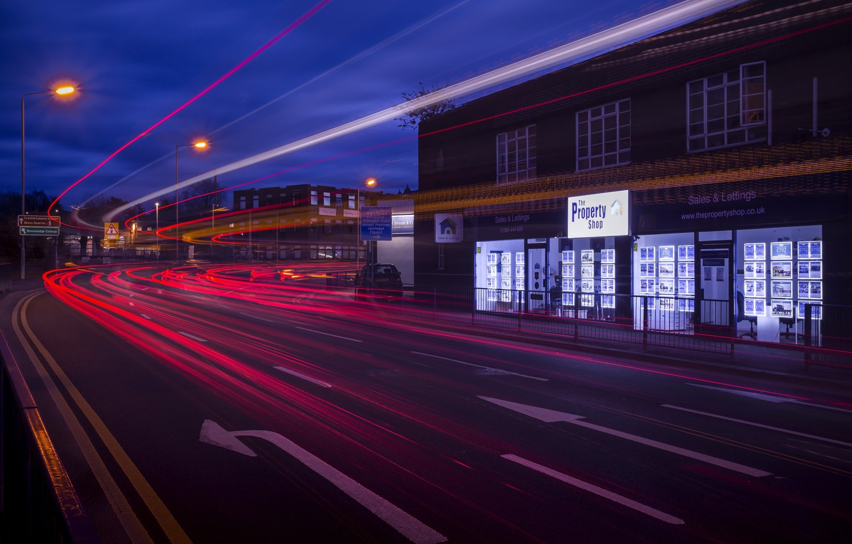 Photo wallpaper night, the city, lights, street