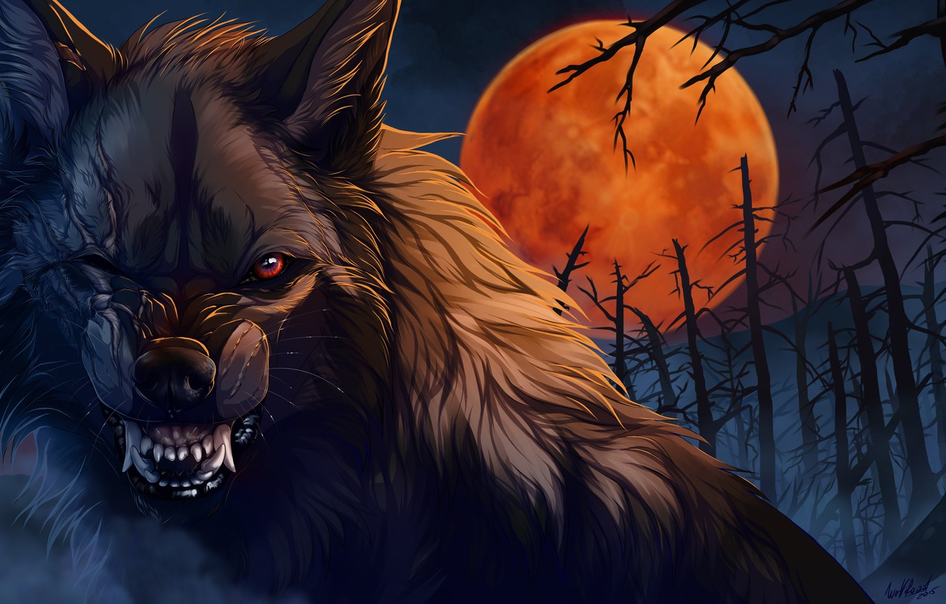 Photo wallpaper night, wolf, wool, mouth, fangs, werewolf, art, scars, evil eye, blood Moon, mater, dead forest, …