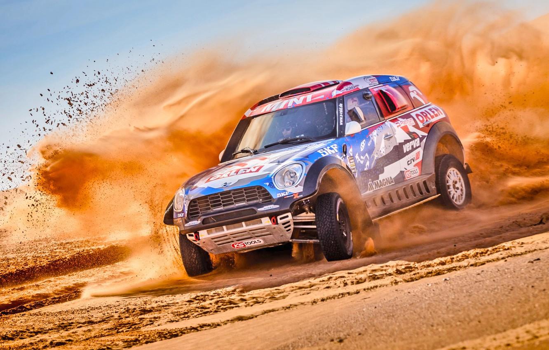 Photo wallpaper Sand, Mini, Dust, Vinyl, Sport, Desert, Speed, Race, Skid, Britain, Heat, Rally, Rally, Raid, MINI …