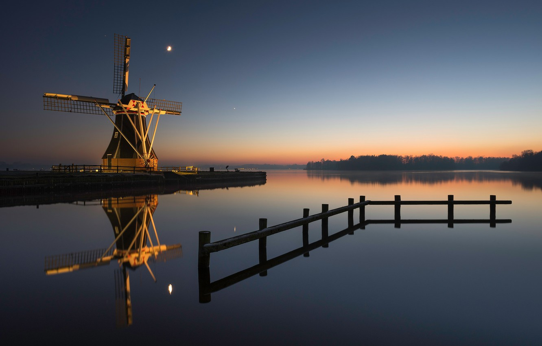 Photo wallpaper night, mill, Netherlands, Groningen, Haren
