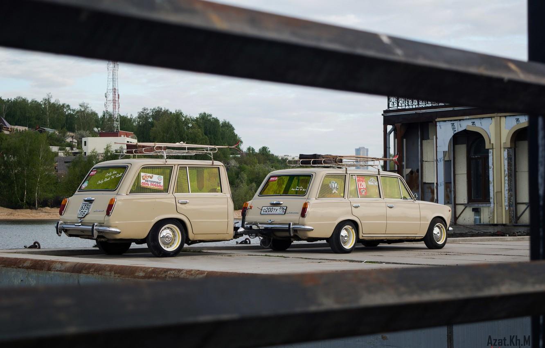 Photo wallpaper retro, tuning, the trailer, Lada, 2102, cream, Soviet classics