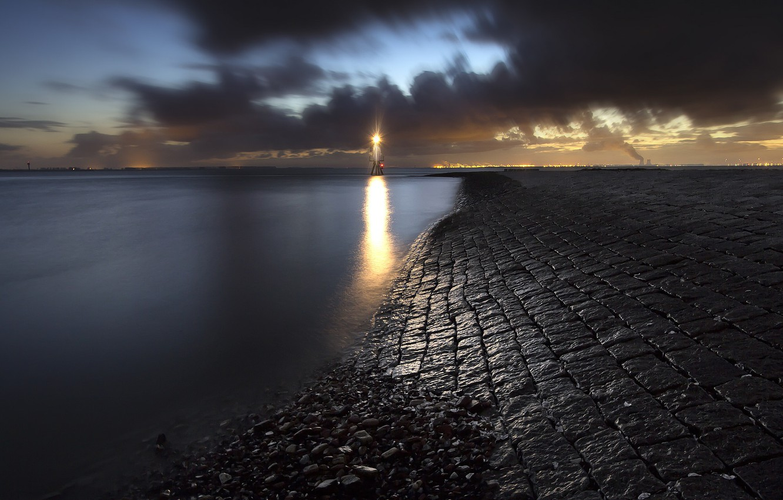 Photo wallpaper sea, night, shore, lighthouse