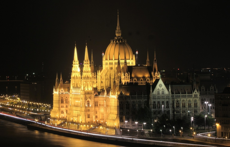 Photo wallpaper night, lights, Parliament, Hungary, Budapest