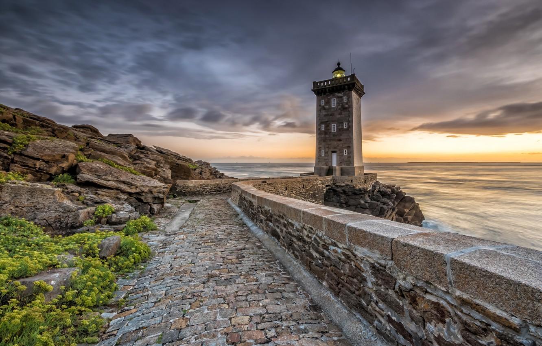 Photo wallpaper sea, the sky, sunset, stones, shore, France, lighthouse, Kermorvant, Lighthouse