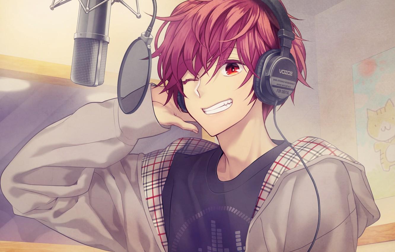 Photo wallpaper music, anime, headphones, art, guy