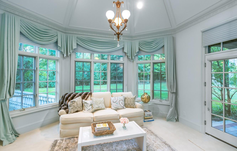 Photo wallpaper design, sofa, Windows, curtains, living room