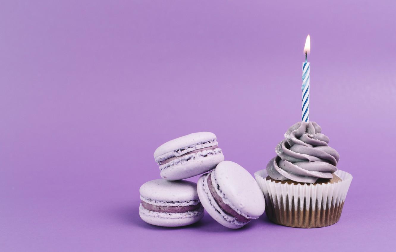 Photo wallpaper holiday, cupcake, cupcake, candle, Birthday, macaroon, Macaroons