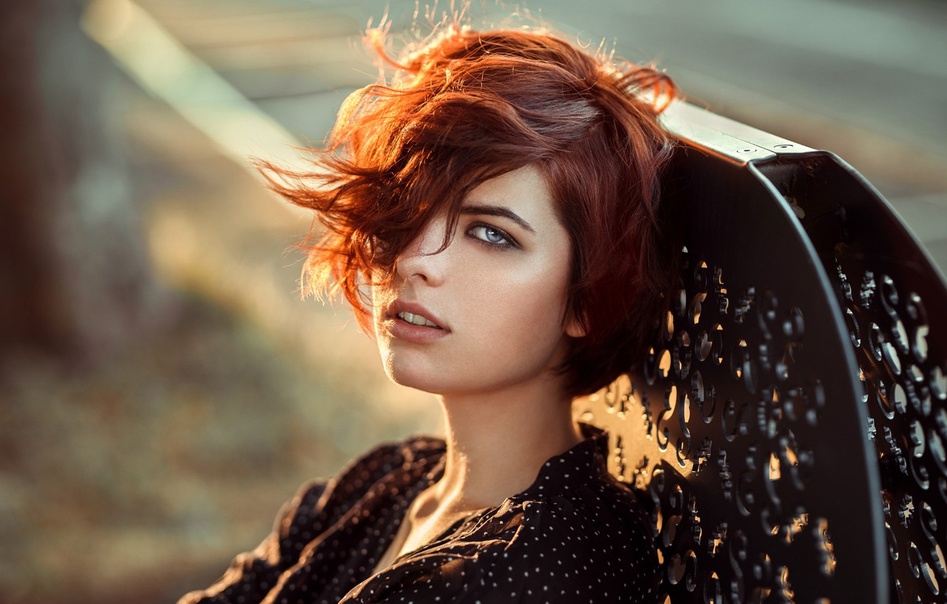 Photo wallpaper look, the sun, portrait, hairstyle, red, beauty, bokeh, Leeloo, Lods Franck