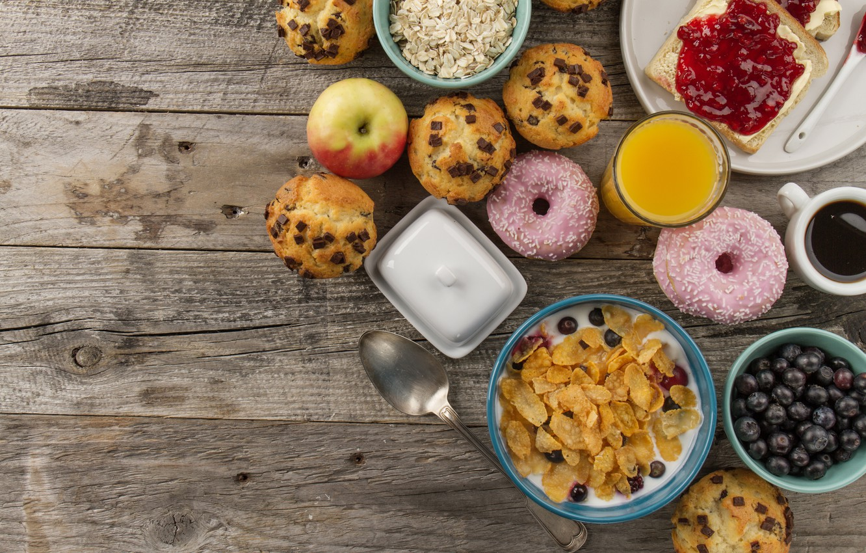 Photo wallpaper apples, Breakfast, Donuts, muesli, sandwiches