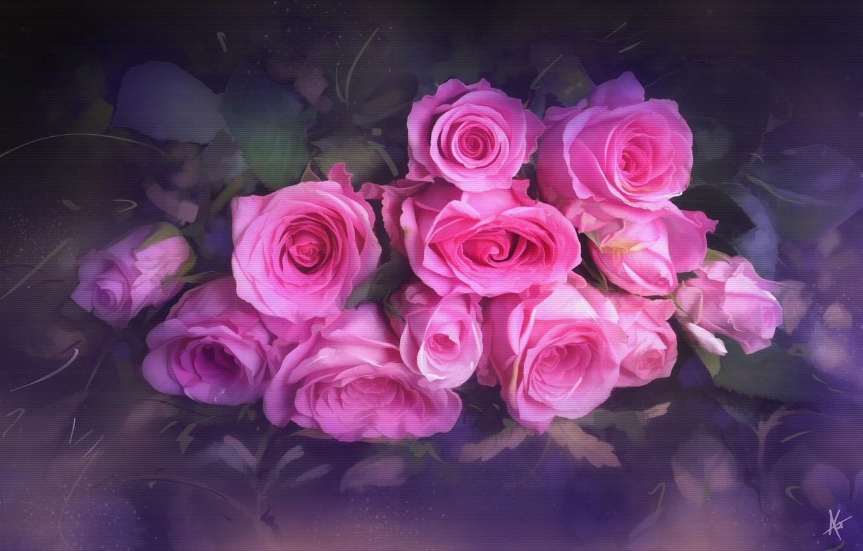 Photo wallpaper flowers, roses, bouquet, texture, blur