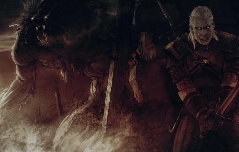 Photo wallpaper art, The Wild Hunt, werewolf, The Witcher, hunter, art, Geralt, werewolf, hunter, CD Projekt RED, …