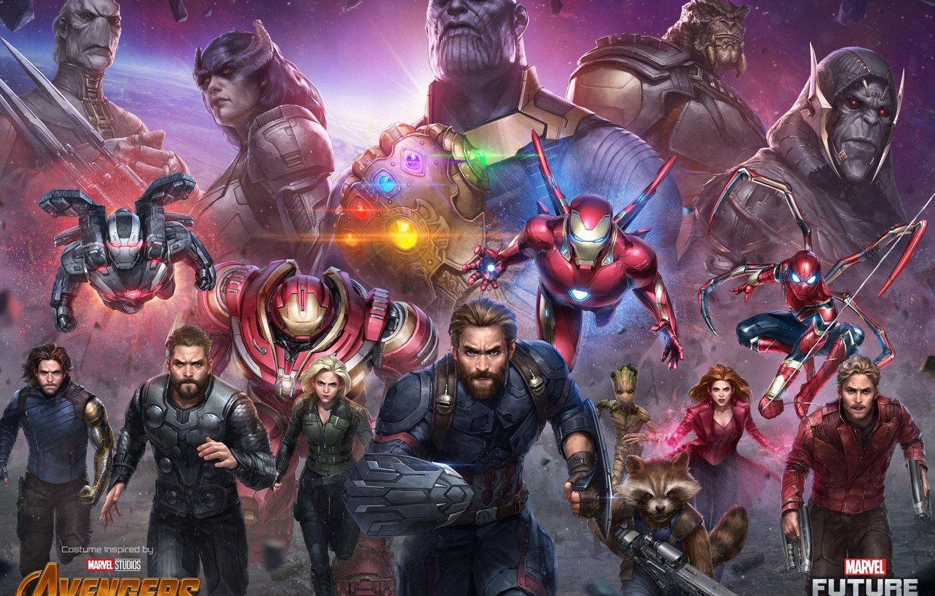 Wallpaper Iron Man Marvel Captain America Thor Black Widow Spider Man Rocket Scarlet Witch War Machine Groot Star Lord Thanos White Wolf Avengers Infinity War Future Fight Images For Desktop Section Igry