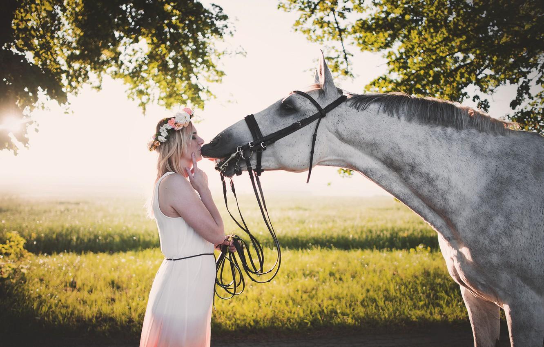 Photo wallpaper summer, girl, horse