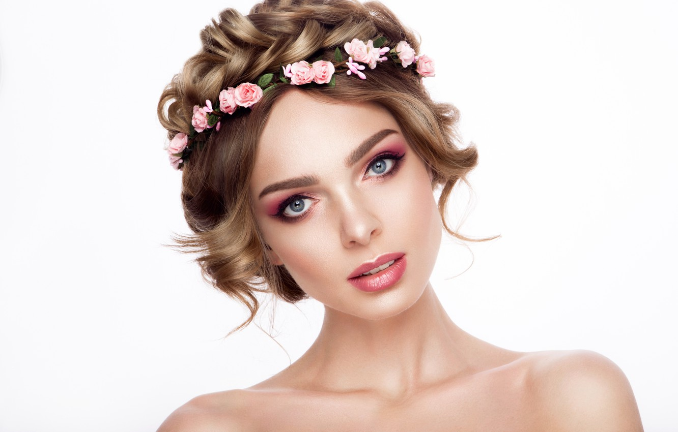 Photo wallpaper look, girl, roses, makeup, hairstyle, shoulders, wreath