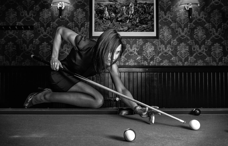 Photo wallpaper girl, balls, Billiards, cue