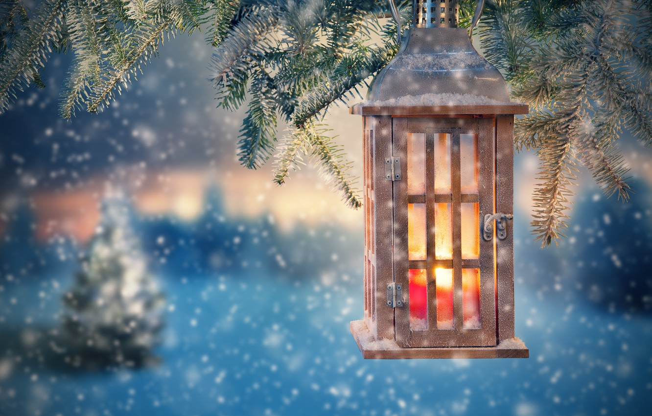 Photo wallpaper snow, decoration, tree, New Year, Christmas, lantern, Christmas, snow, Merry Christmas, Xmas, decoration, candle, lantern, …