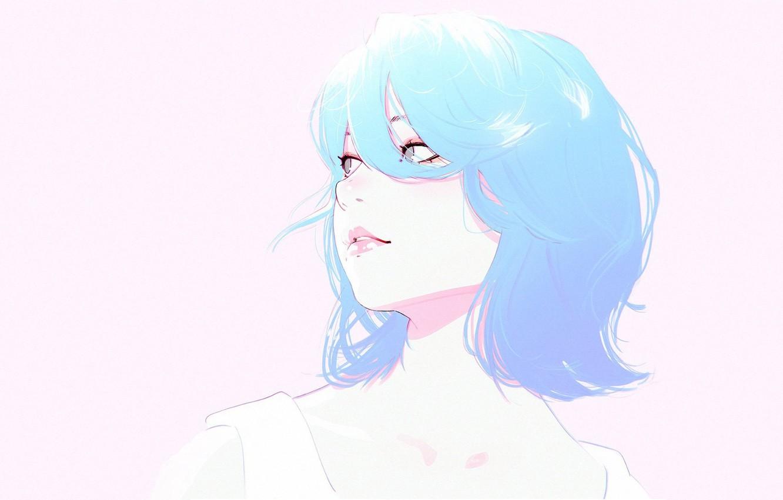Photo wallpaper face, haircut, blue hair, bangs, portrait of a girl, Ilya Kuvshinov