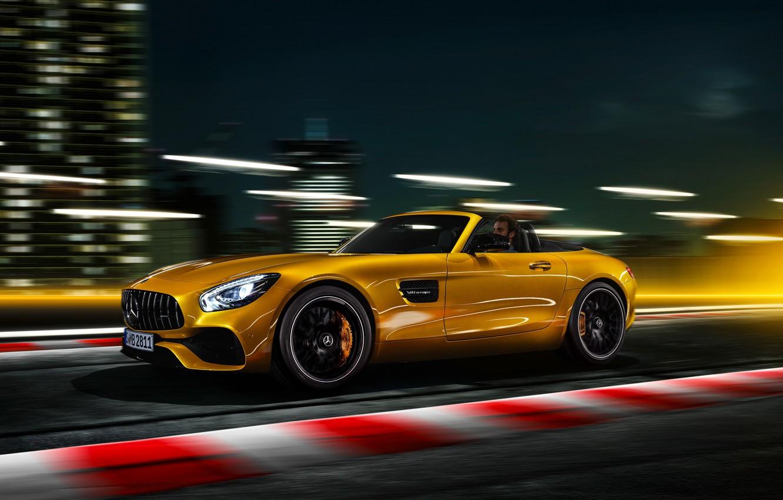 Photo wallpaper Roadster, Mercedes-Benz, speed, AMG, 2018, GT S