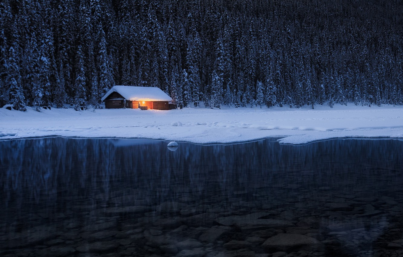 Photo wallpaper winter, forest, light, nature, river, the evening, house