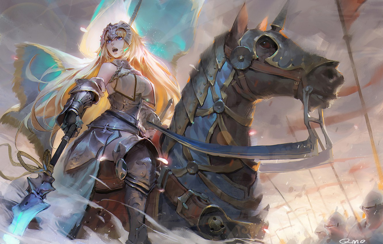 Photo wallpaper girl, weapons, horse, armor, spear, anime, art, Joan of arc, Ruler