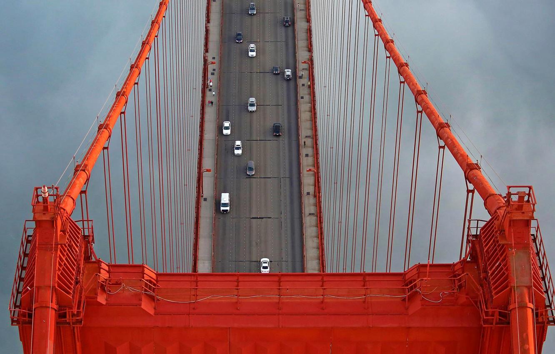 Photo wallpaper bridge, support, San Francisco, Golden Gate, USA, cars