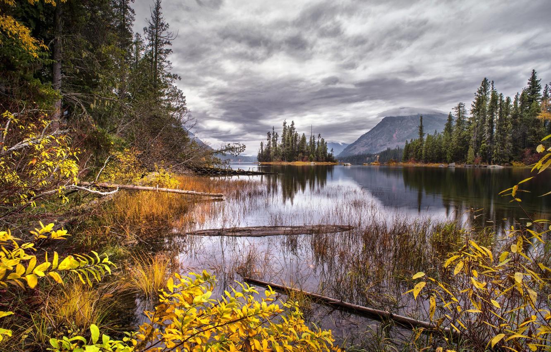 Photo wallpaper autumn, lake, island