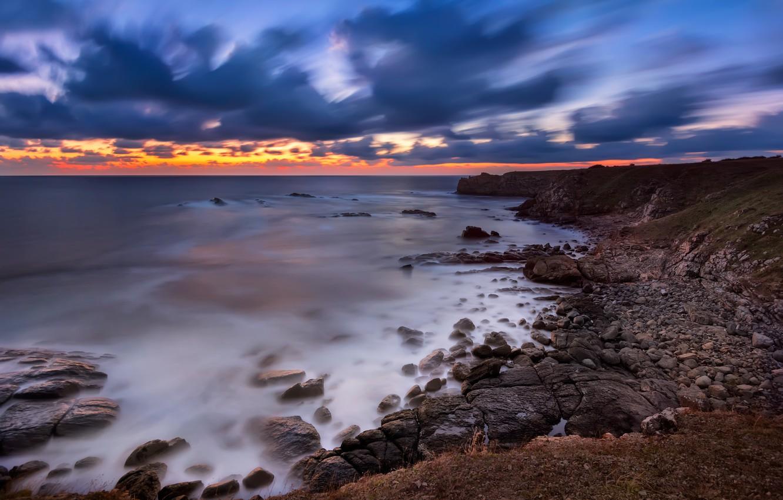 Photo wallpaper sea, beach, landscape, sunset, nature, sunrise, stones, rocks, shore, nature, sunset, seascape, beautiful, rocks, sunrise, …