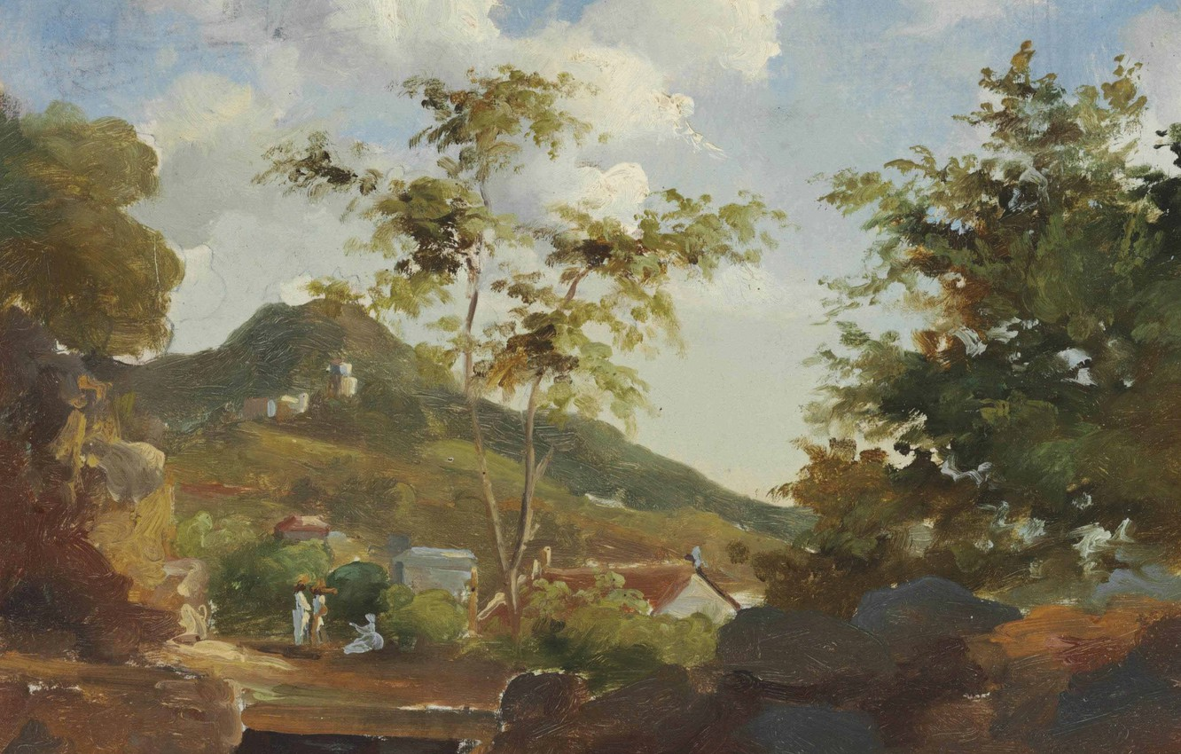 Photo wallpaper landscape, mountain, picture, Antilles, Camille Pissarro, The village at the Foot of the Mountain in …