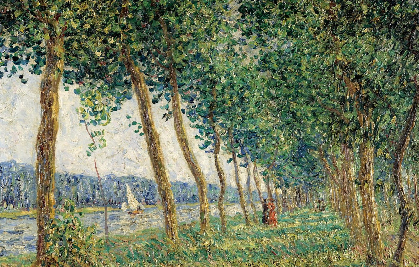Photo wallpaper trees, landscape, river, boat, picture, sail, alley, Francis Picabia, Francis Picabia, Bank Luena