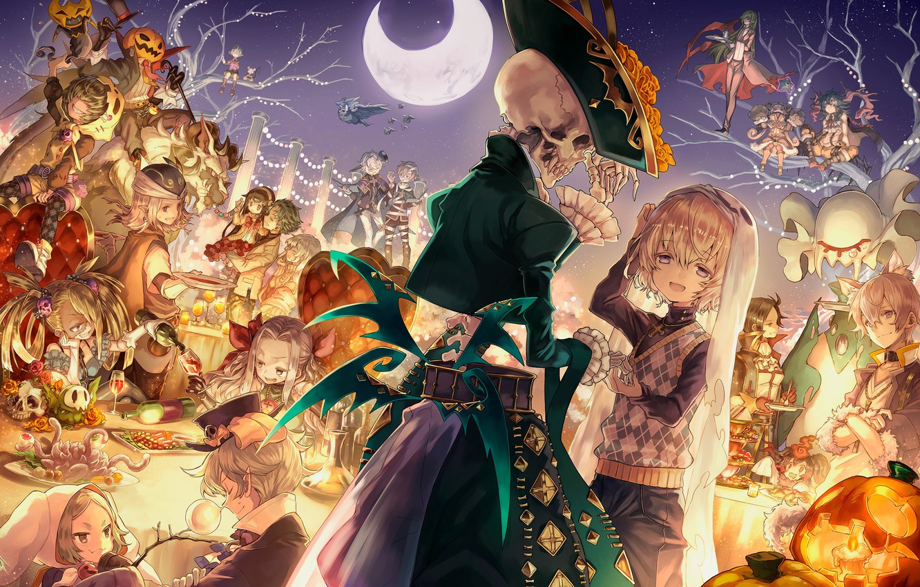 Photo wallpaper anime, art, skeleton, Halloween, merc storia