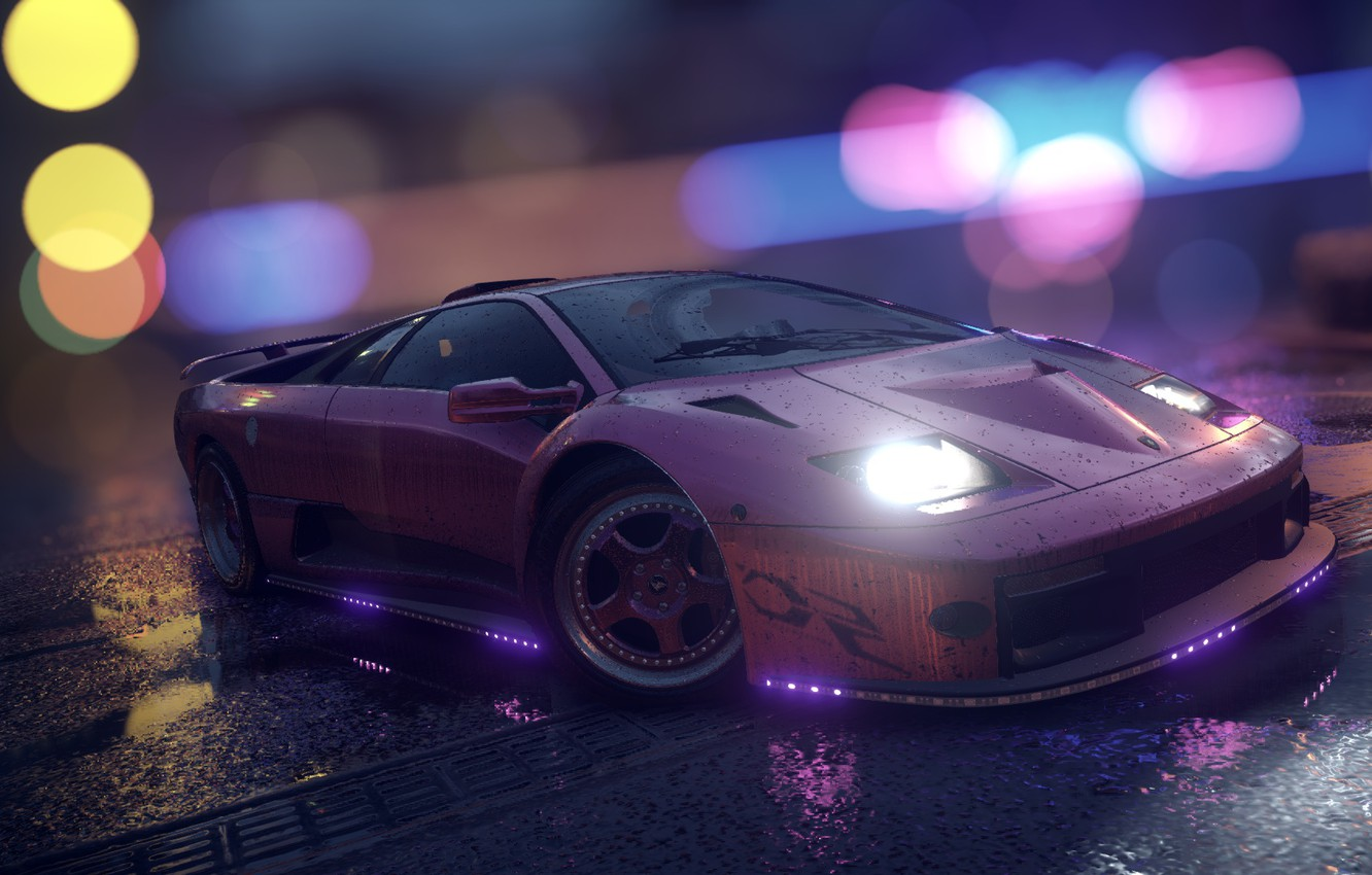 Wallpaper Lamborghini Nfs Purple Neon Diablo Tuning Need For