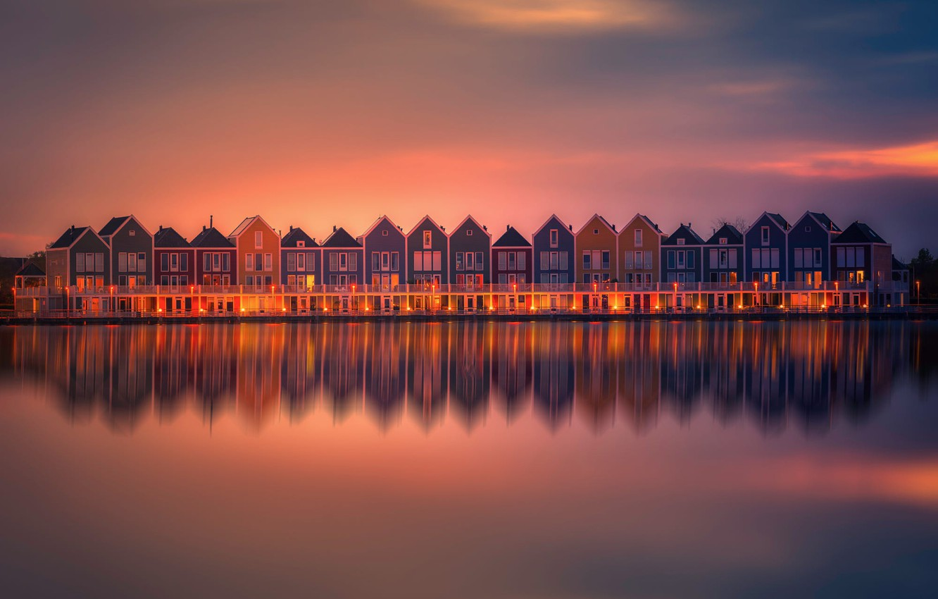 Photo wallpaper Holland, Water, Sunset, Reflection, Lightroom, Homes, Neighbours