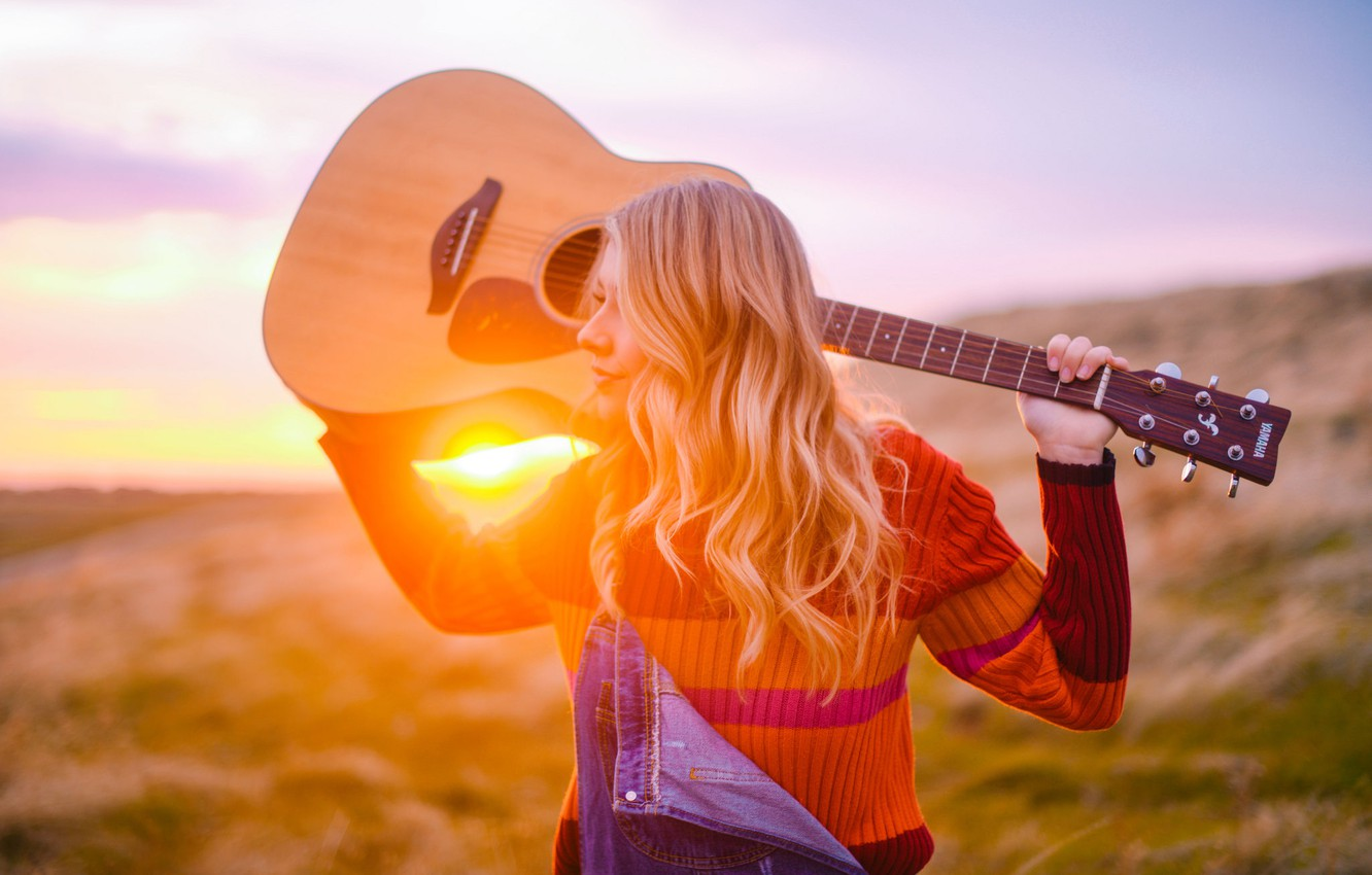 Photo wallpaper sunset, guitar, blonde