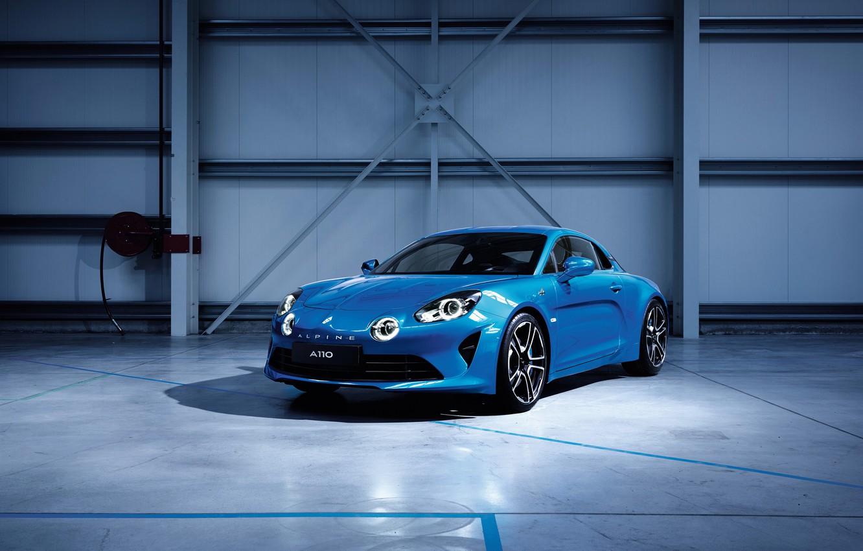 Photo wallpaper light, blue, garage, Renault, car, Alpine, Edition, Premiere, A110