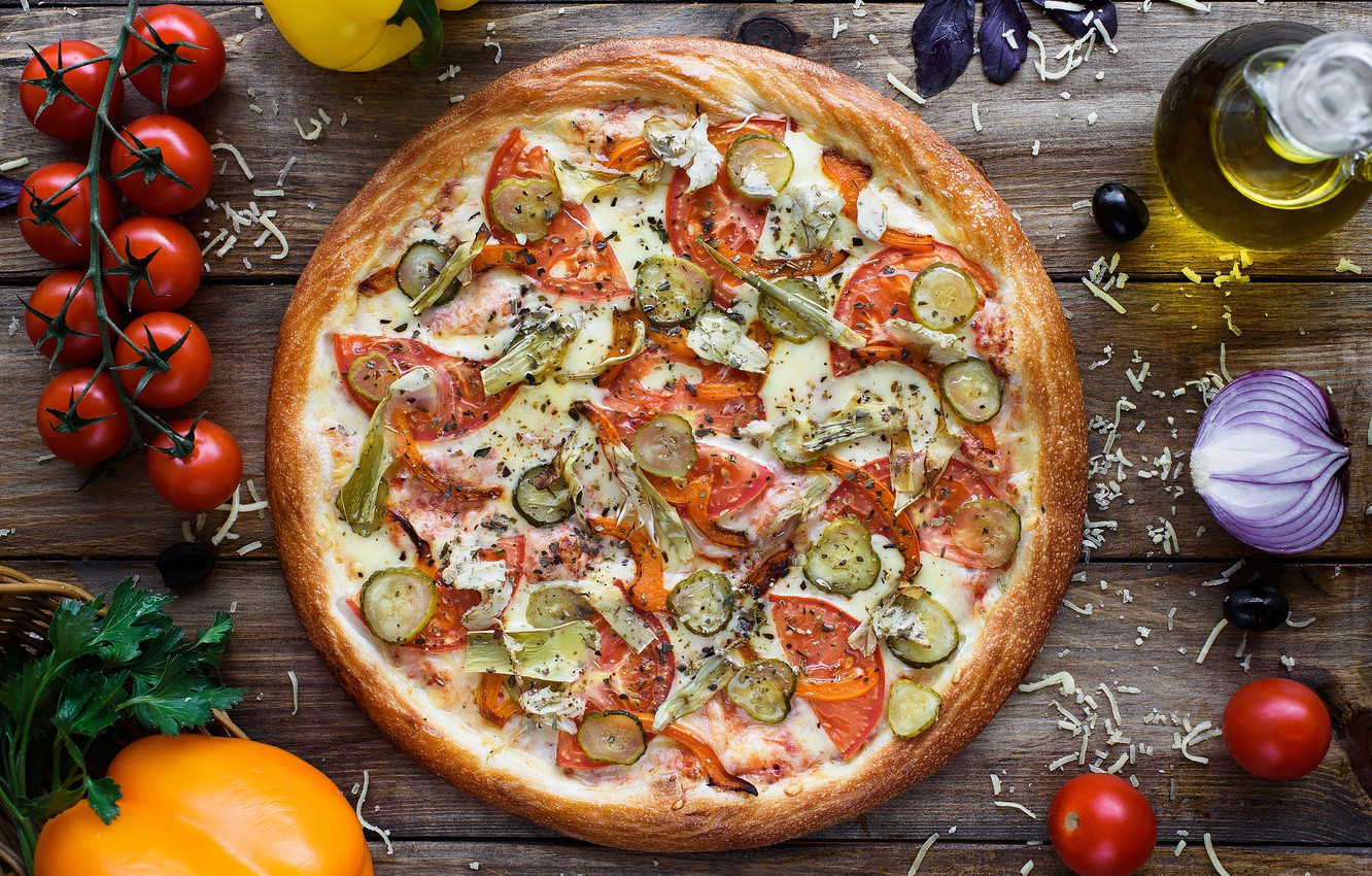 Photo wallpaper cheese, vegetables, pizza, tomatoes
