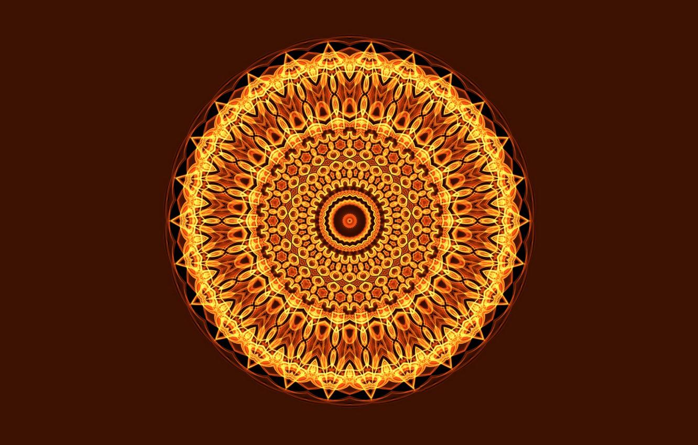 Photo wallpaper light, the dark background, round, Mandala