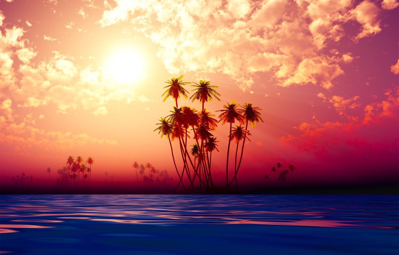 Photo wallpaper beach, sky, sunset, palms