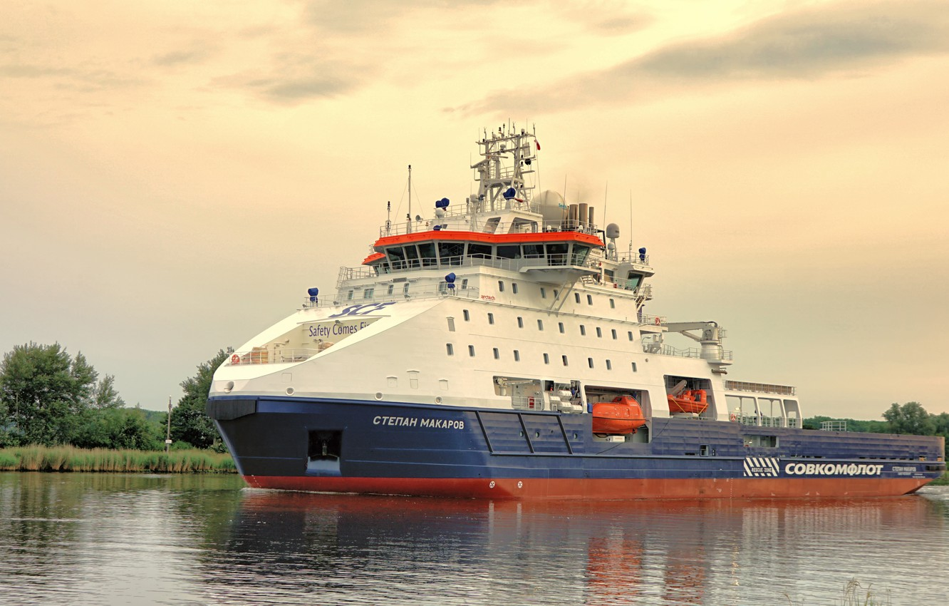 Photo wallpaper ship ice class, the support vessel, Stepan Makarov