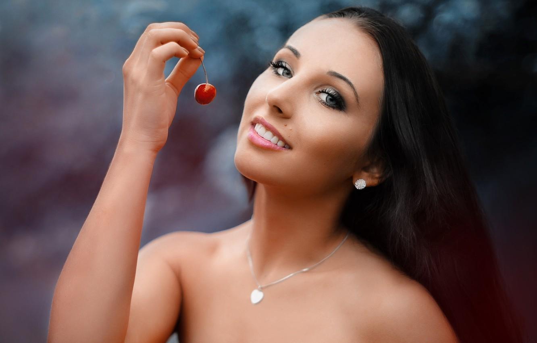 Photo wallpaper girl, decoration, cherry, smile, portrait, makeup, brunette, berry, shoulders, Saulius Krušna