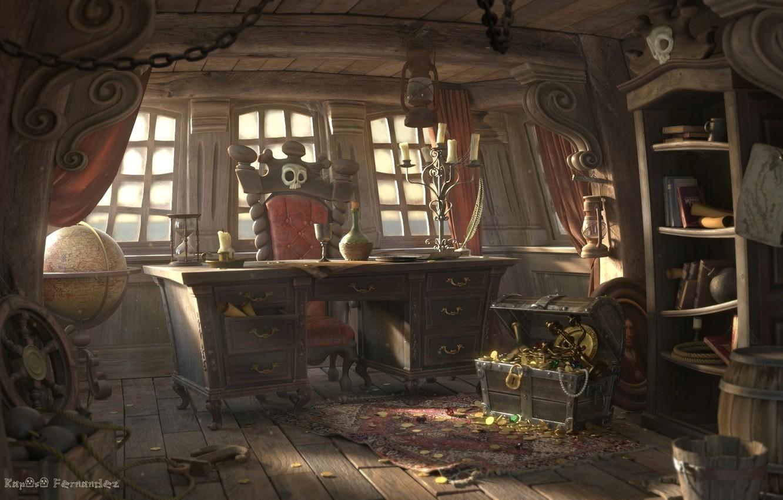 Photo wallpaper ship, art, chest, mining, cabin, Sergio Raposo Fernández, Pirate cabin
